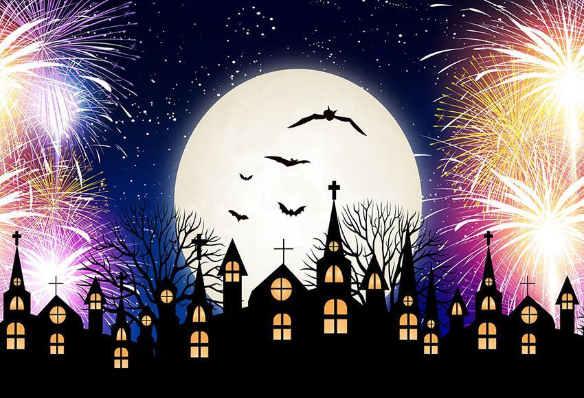 Halloween Black Castle Backdrops Bright Moon Photography Prop