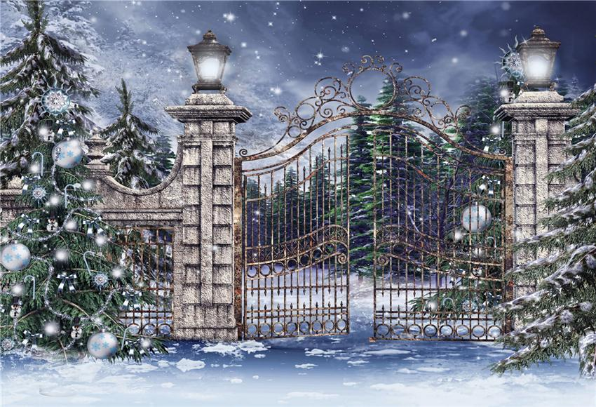 Christmas Photography Backdrop Gate Snow Winter Background