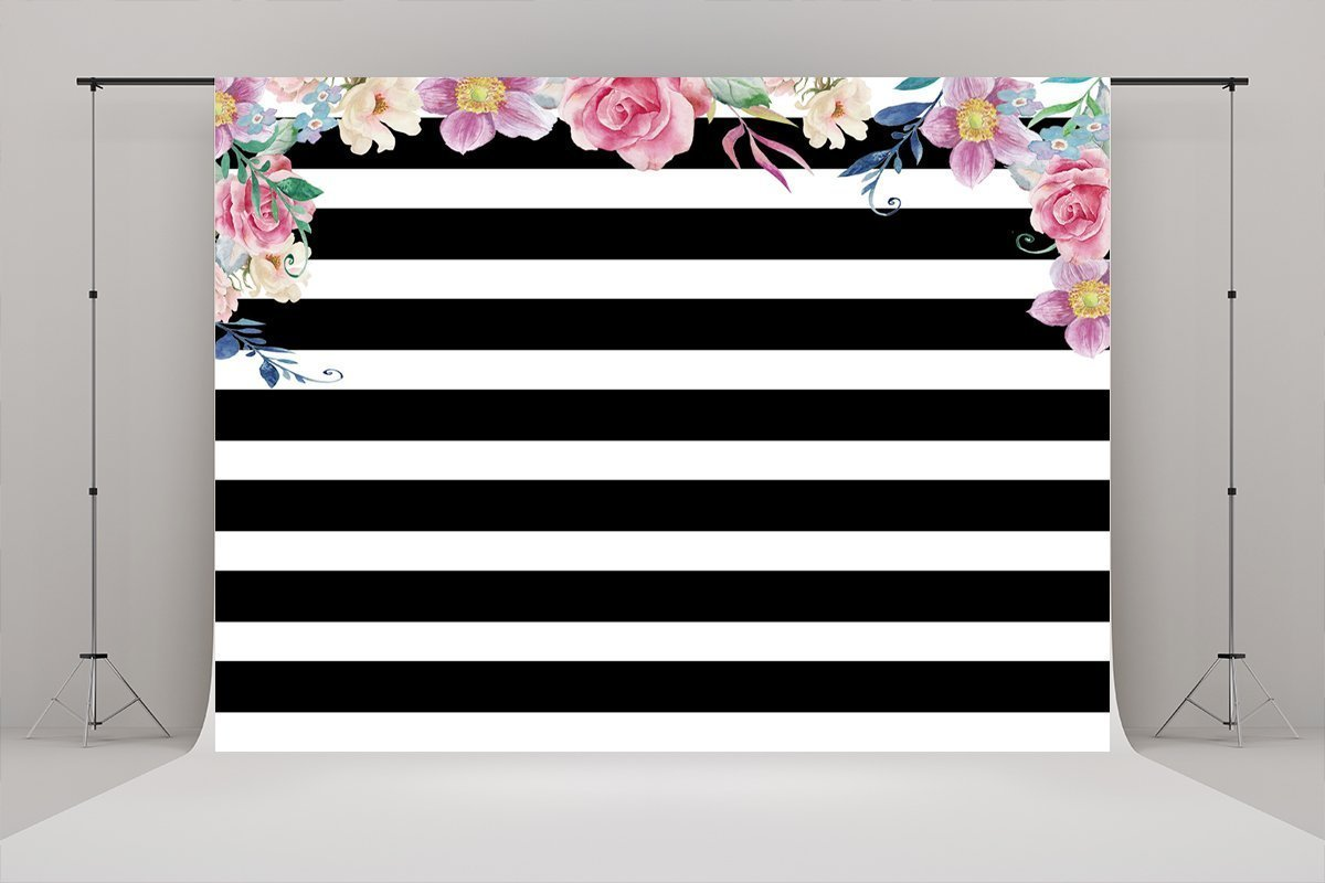 White and Black Stripes Pink Flowers Fabric Backdrop for Wedding