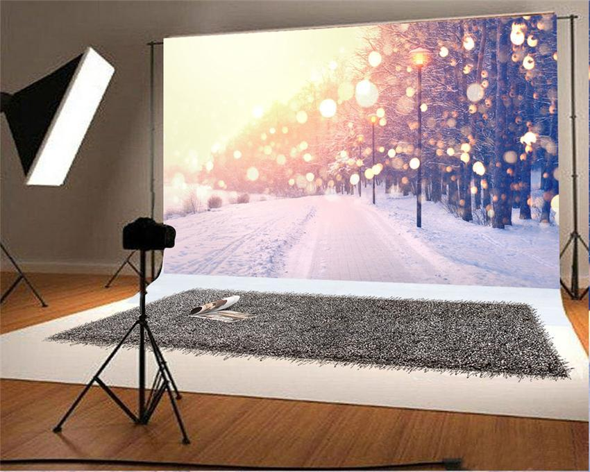 Glitter Winetr Snow Forest Backdrop