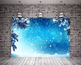 Christmas White Snowflake Glitter Blue Backdrop for Photography Prop