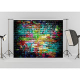 Colorful Graffiti Brick Wall Backdrop Pictorial Photography Backdrop