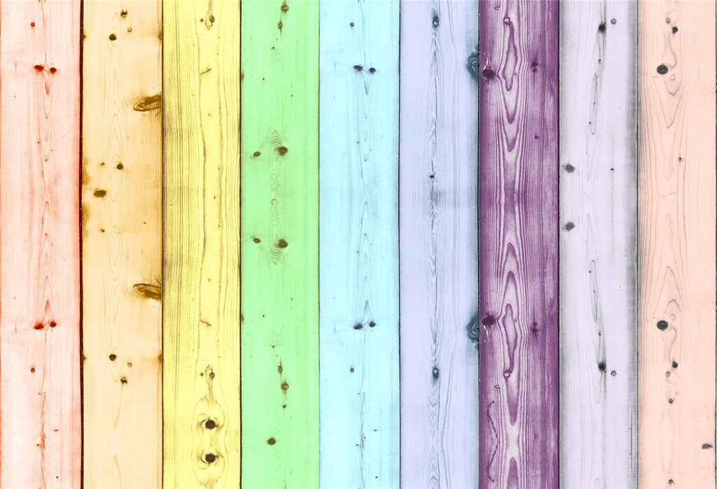 Rainbow Wooden Photography Backdrops for Picture