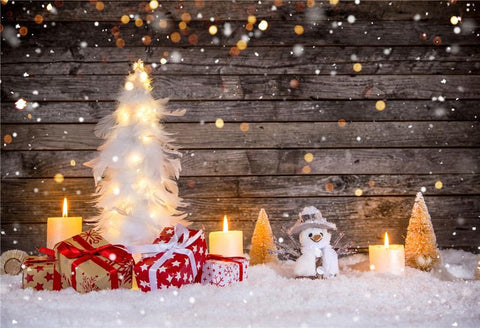 Snow Winter Brown Wood Christmas Backdrops for Photographers