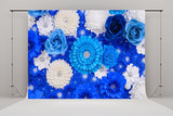 Blue and White Flower Wedding Backdrops for Birthday Background
