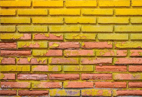 Yellow Retro Brick Wall Photography Backdrops for Picture