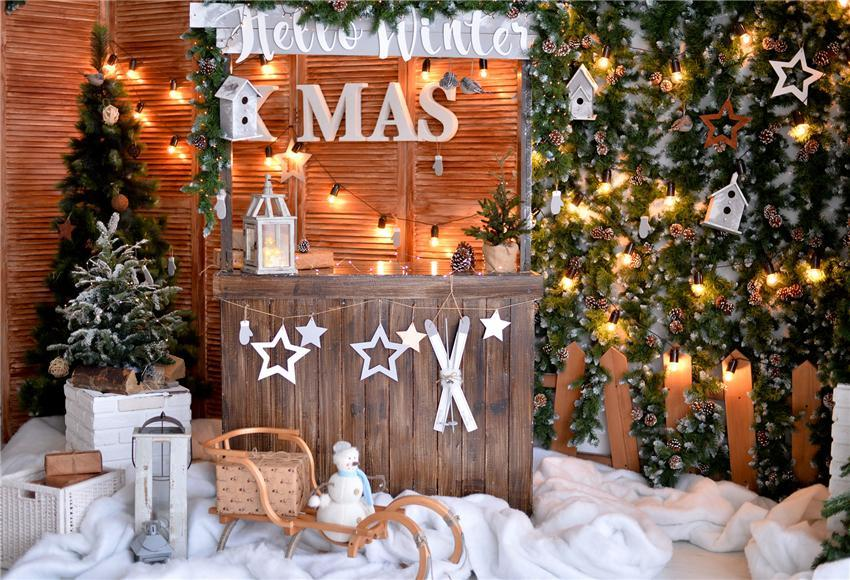 Fence XMAS Christmas Backdrops