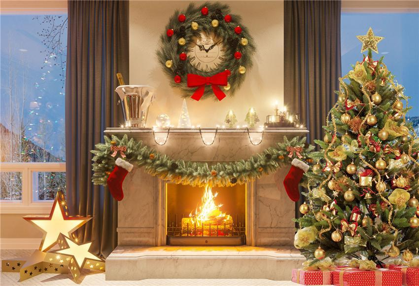 Christmas Fireplace Gold Star Photography Backdrop