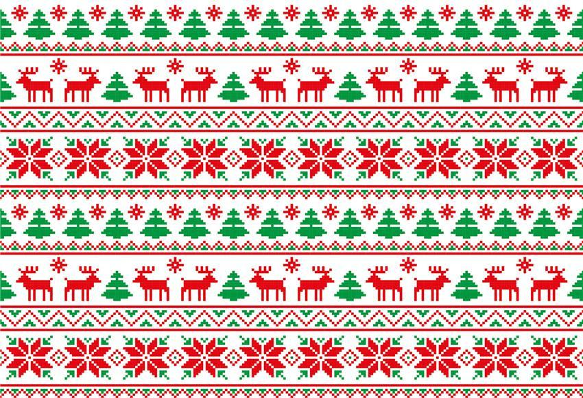 Ugly Sweater Green Red Christmas Backdrop