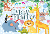 Happy Birthday Cartoon Polka Backdrop for Photos