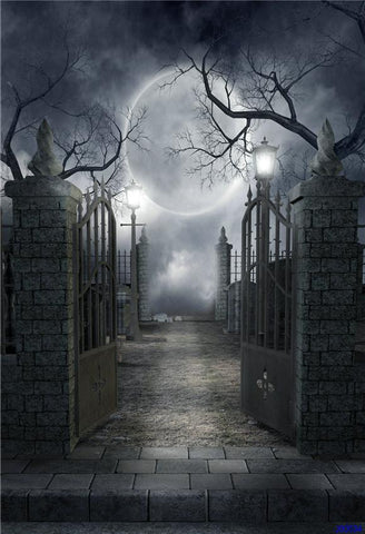 Door of hell Bright Moon Halloween Photography Backdrops