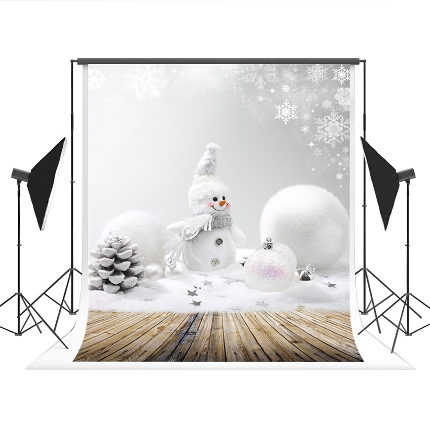 Snowman Christmas Wood Floor Backdrop for Photo