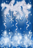 Bule Bell White Christmas Tree Backdrop