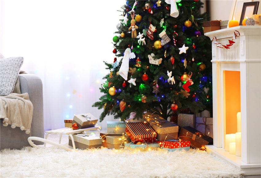 Christmas Photography Backdrops Shiny Tree