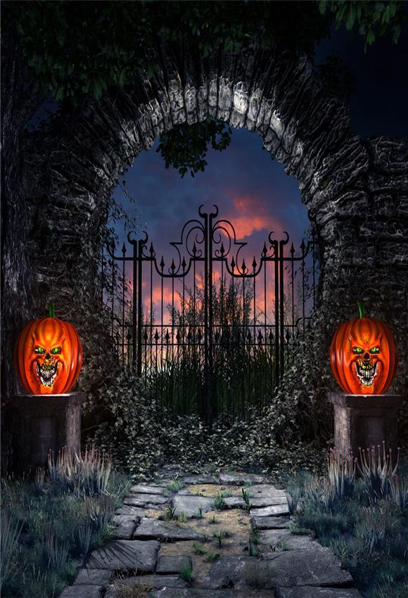 Hell Gate Scary of Night Halloween Backdrop for Photography Prop