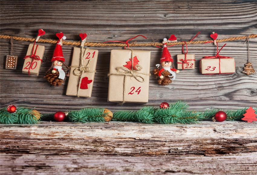 Wooden Christmas Photography Backdrops