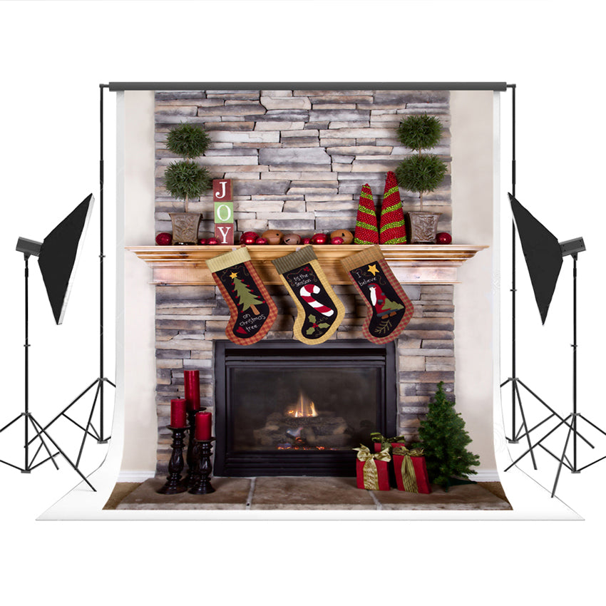 Brick Fireplace Photography Backdrop Prop