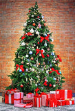 Red Birck Wall Christmas Tree Backdrops for Party