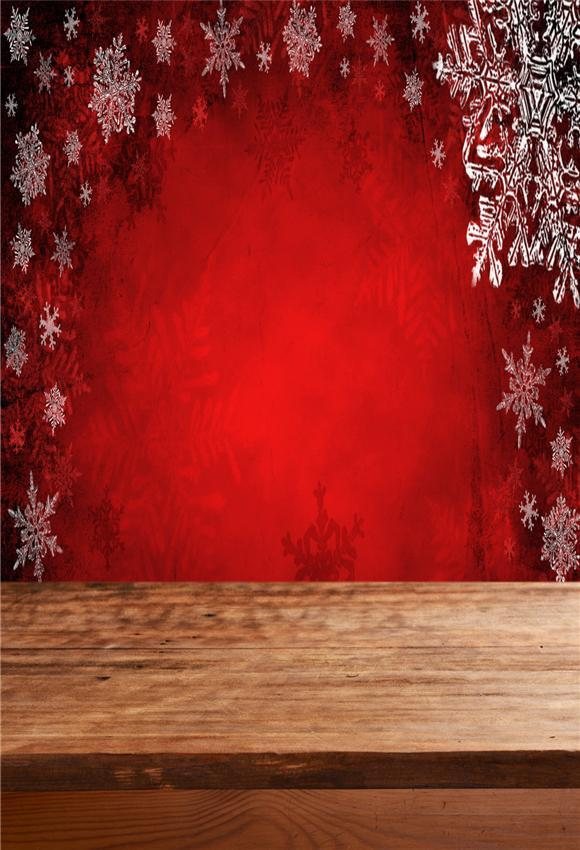 Christmas Red Snowflake Wood Floor Backdrop for Picture