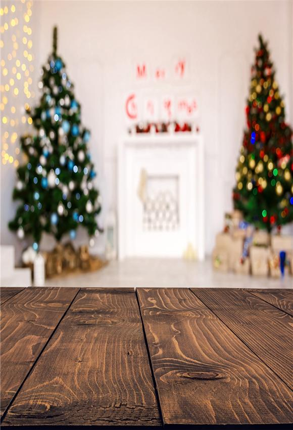 Christmas Brown Wood Floor Backdrop