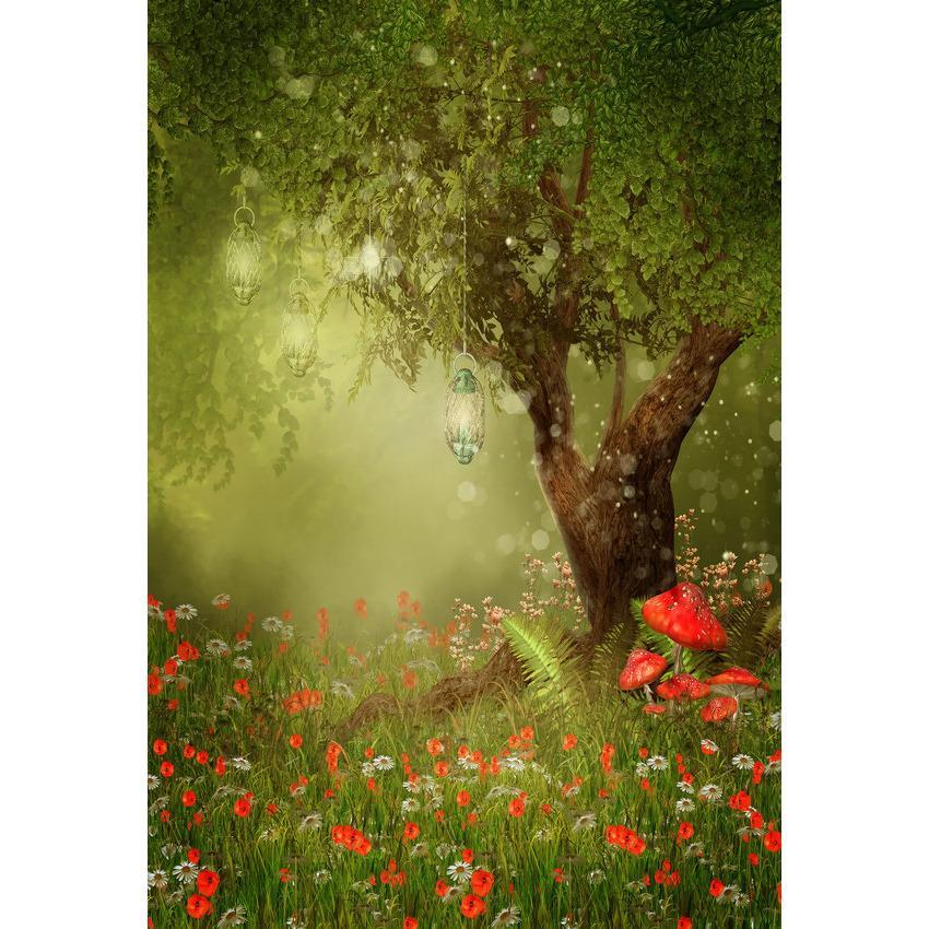 Fairy Tale Red Flower and Mushroom Under Tree Backdrop Spring Scenery Photography Background