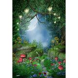 Fairytale Green Beautiful Scenery at Night  Backdrop for Photography Background