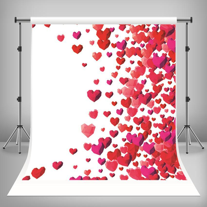 Red Love Hearts Backdrop For Mother' s Day Photography