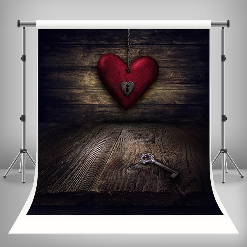 Red Love Heart and Dark Brown Wood Floor Backdrop Photography Background