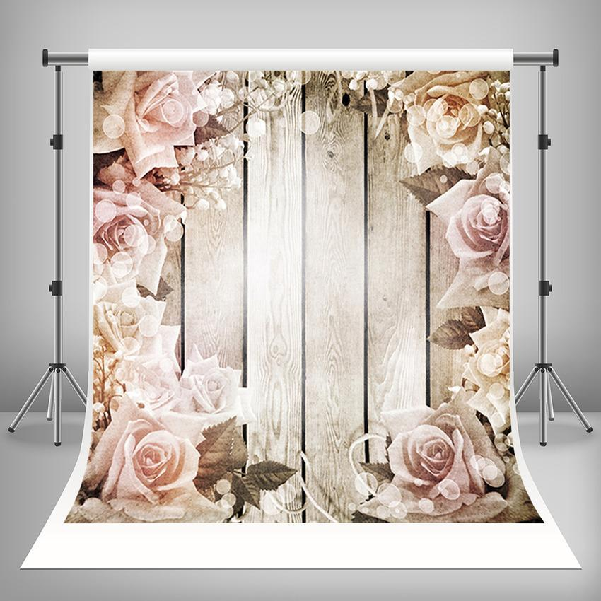 Flower Decoration Wood Floor Backdrop For Mother's Day Photography