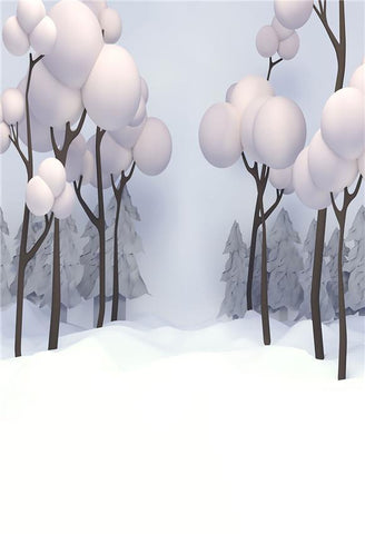 Cartoon Snow Winter Tree Photo Backdrops