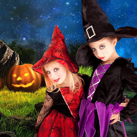 Blue Sky Moon Halloween Night Photography Backdrops