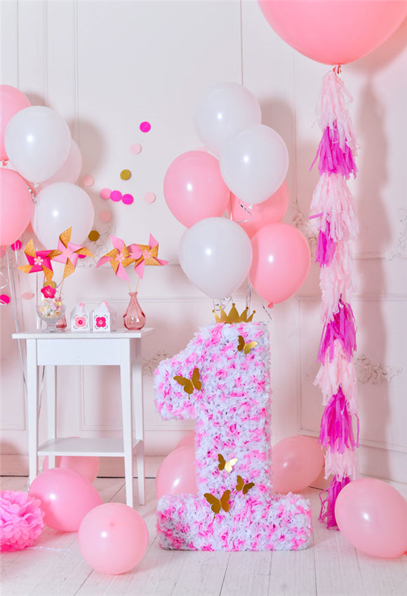 Pink Theme 1st Birthday Baby Show Butterfly Backdrops
