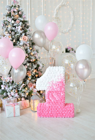 Glitter 1st Birthday Christmas Backdrop for Baby