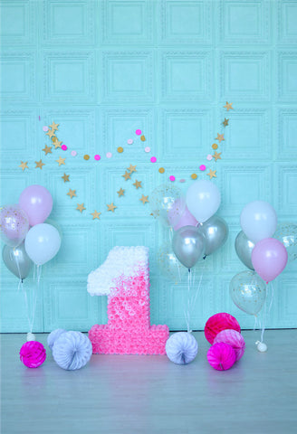 Mint Pink Flowers 1st Birthday Backdrop for Picture