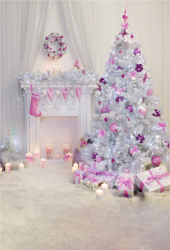Pink Decor Christmas Tree White Fireplace Backdrops
