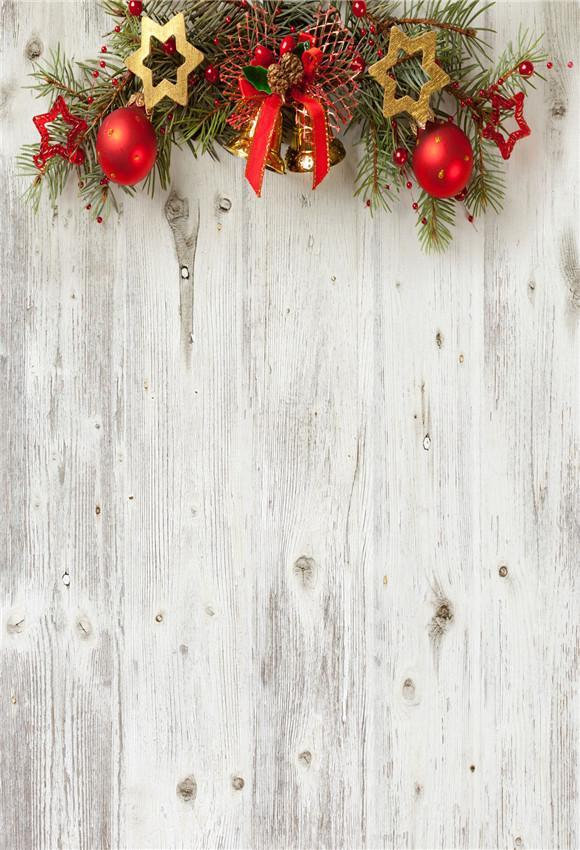 Beige Wood Wall Christmas Backdrop for Party
