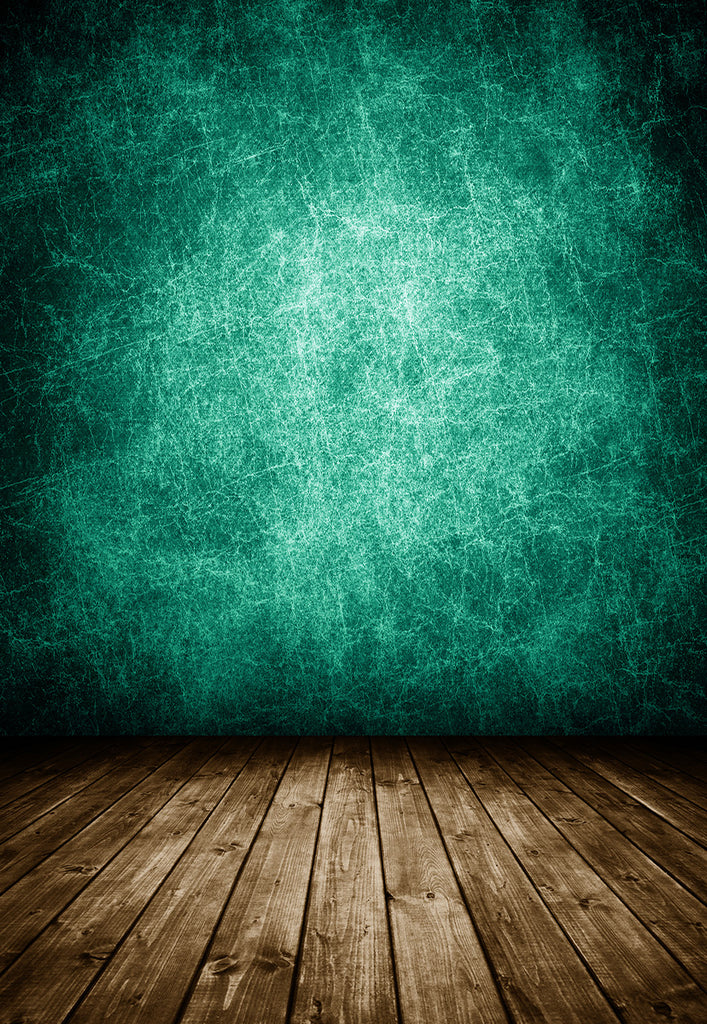 Mottled Green Abstract Brown Wood Floor Backdrop
