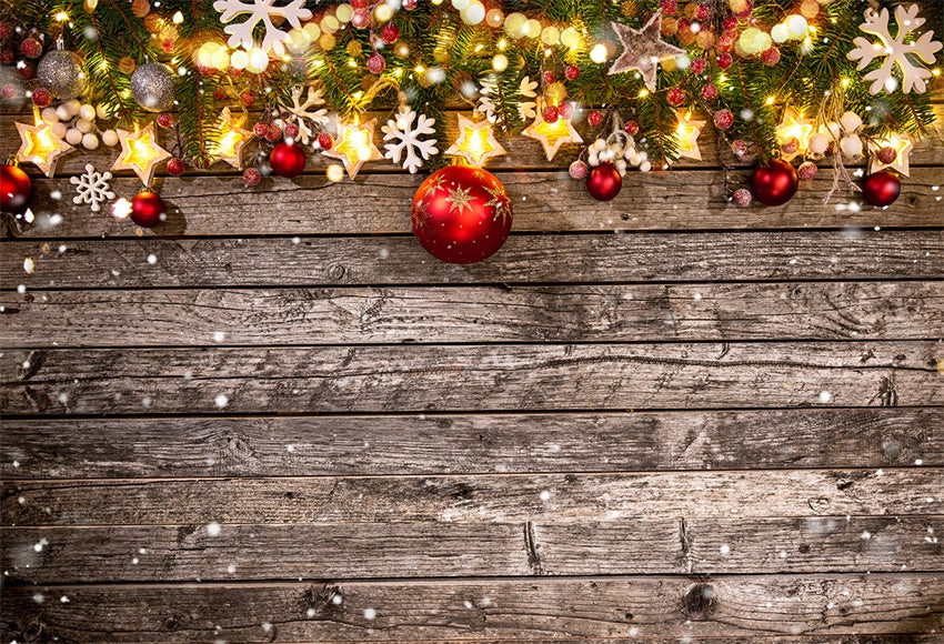 Christmas Photo Backdrop Wood Wall Winter Background