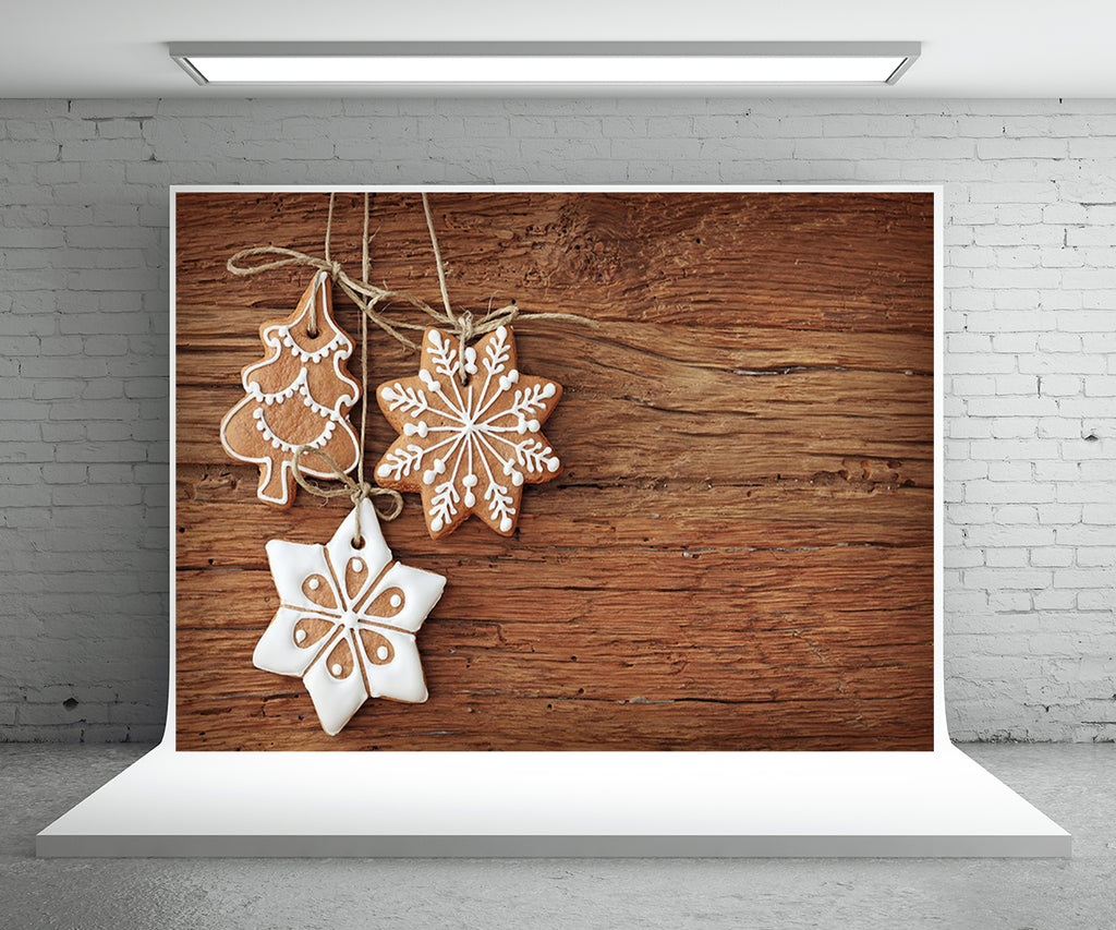 Snowflake Biscuits Photography Backdrop Christmas Wood Photo Background
