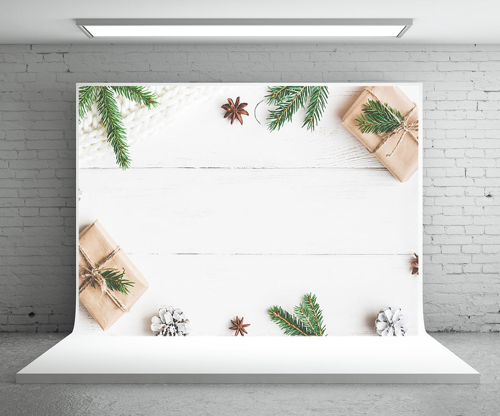 Snow Wood Wall Photography Backdrop Christmas Gift Phto Background