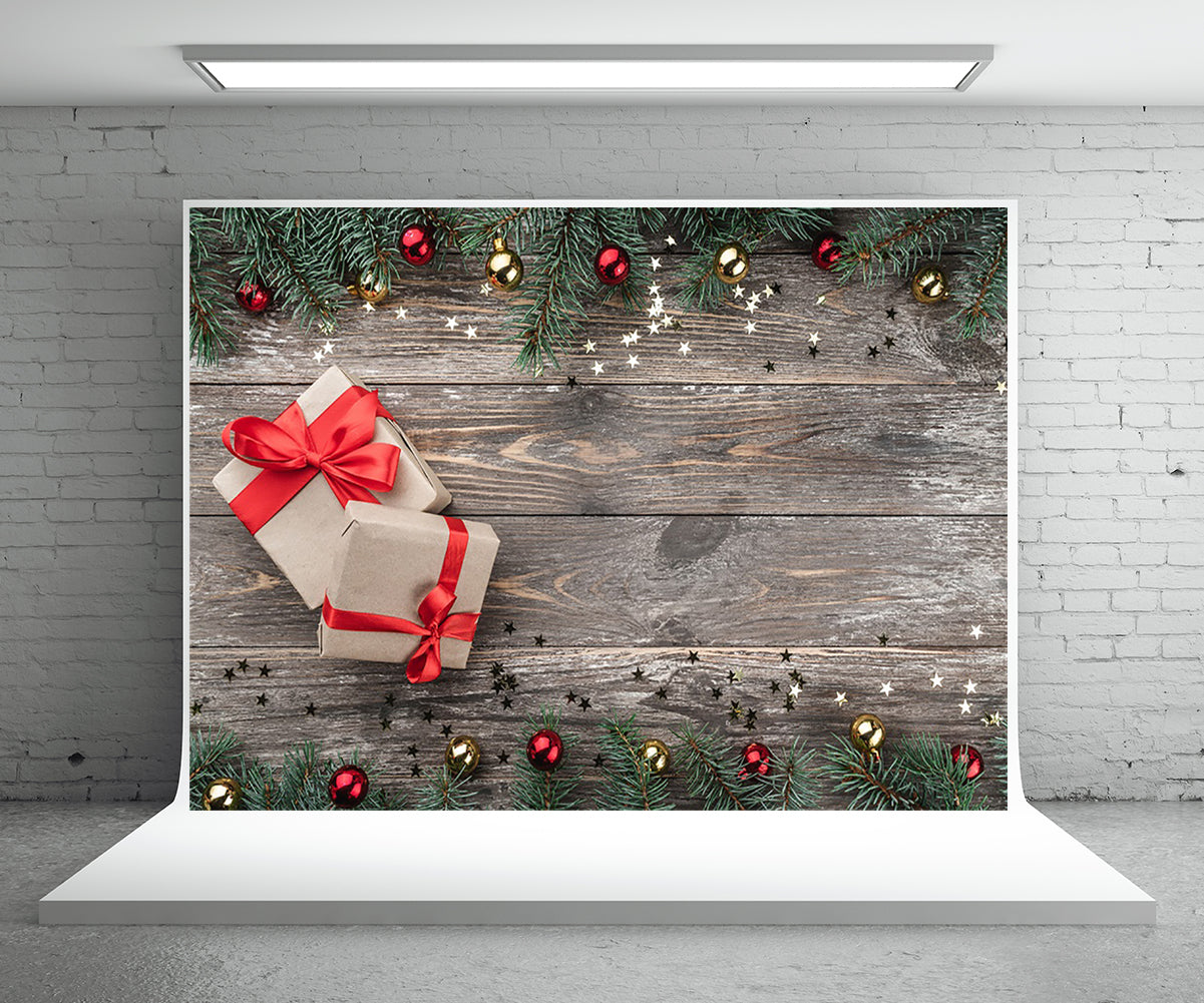Christmas Wood Wall Photography Backdrop Gift Photo Background