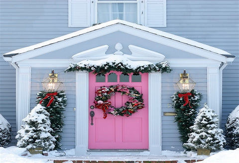 Winter Wooden House Pink Door Christmas Backdrops