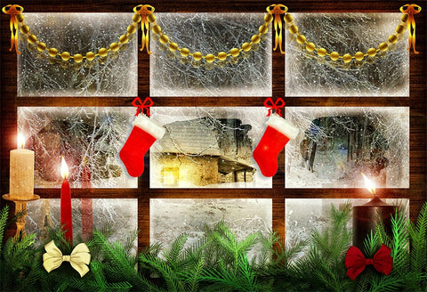 Wood Window Christmas Winter Photography Backdrops