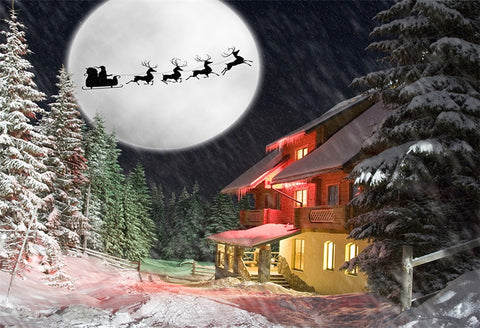 Pine Forest Winter Snow House Santa Claus Backdrop