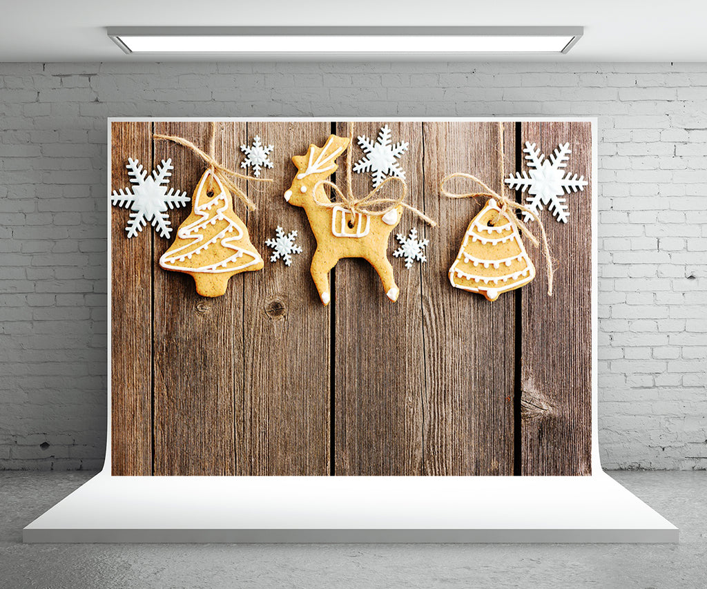 Snow Biscuits Wood Wall Photo Backdrop Christmas Photography Background