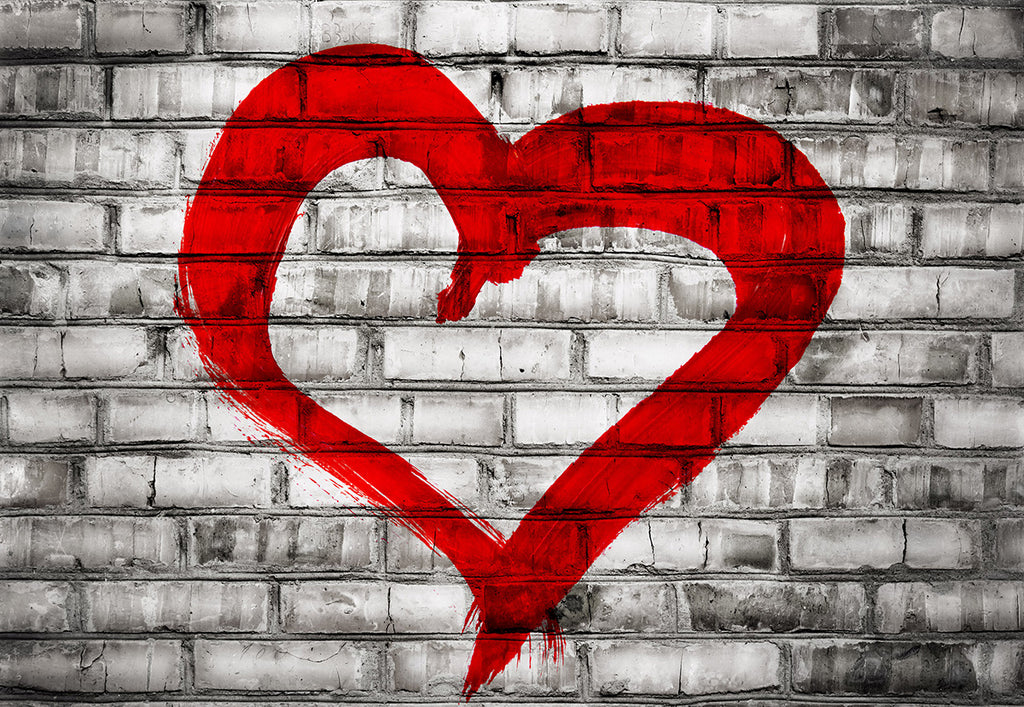 Gery Brick Wall Red Heart Valentine's Photo Backdrop