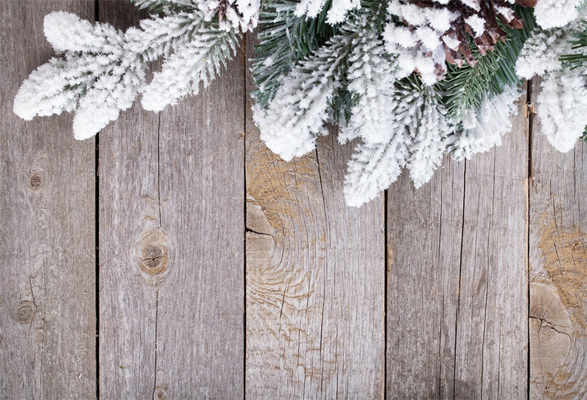 Pine Branch Wood Wall Photography Backdrop Christmas Background
