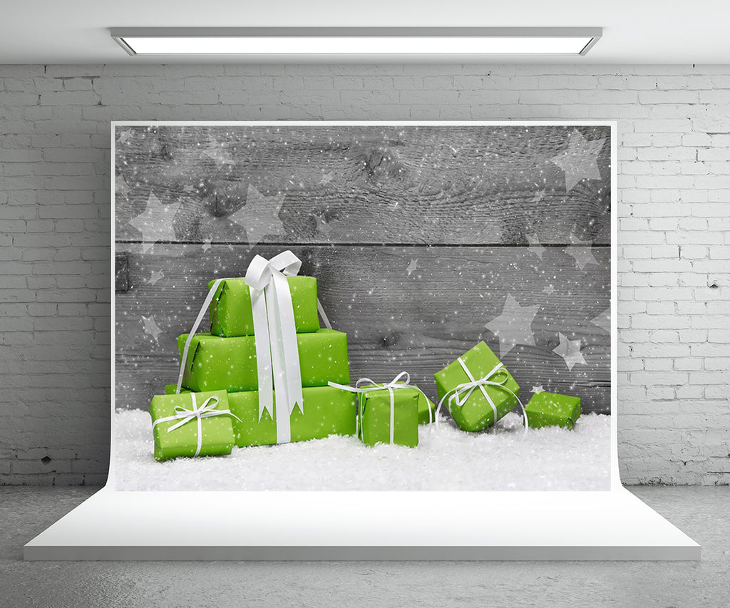 Christmas Gift Photo Backdrop Wood Wall Snow Background