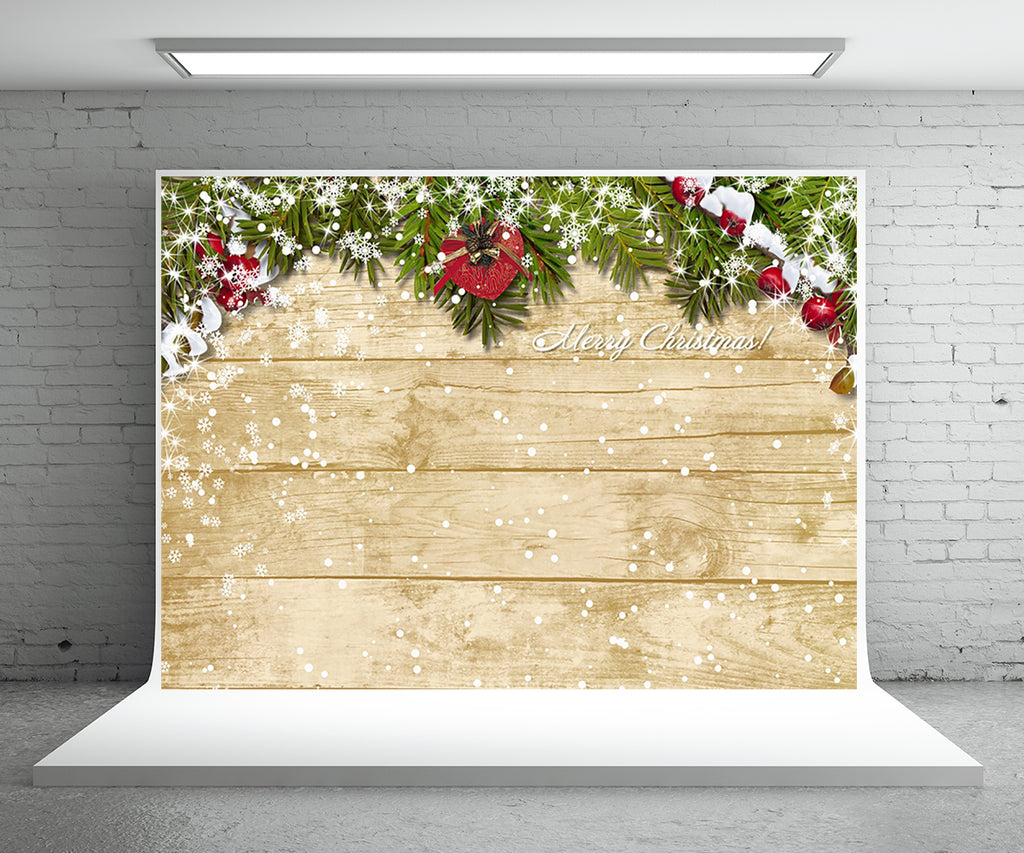 Christmas Wood Wall Photo Backdrop Snowflake Background