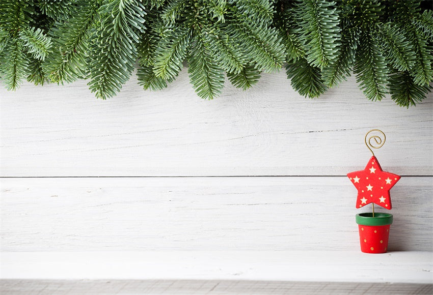 Pine Branch Wood Photography Backdrop Christmas Background